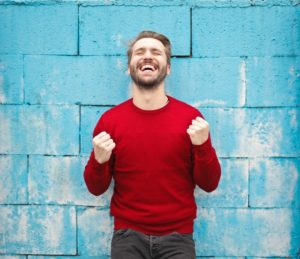 a man excited in this case about taxes